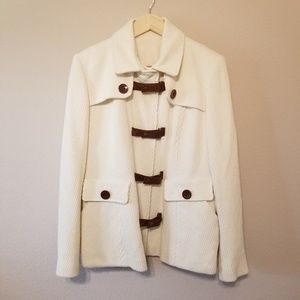 Boston Proper Ivory Peacoat Leather Accent Size 12